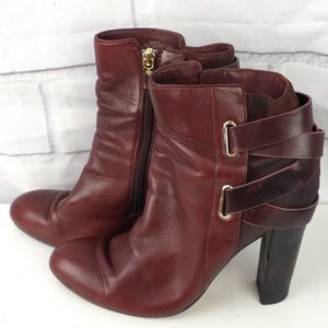 Isola 8.5 red heeled strappy leather ankle boots